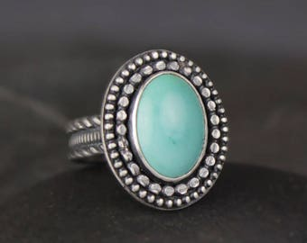 Turquoise Ring, Sterling Silver Ring, Boho Ring, Carico Lake Turquoise Ring, Size 6.25, Ready to ship