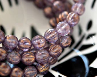Purple Magic - Premium Czech Glass Beads, Transparent Clear, Lavender, Metallic Gold Luster, Baby Melon Rounds 6mm - Pc 25