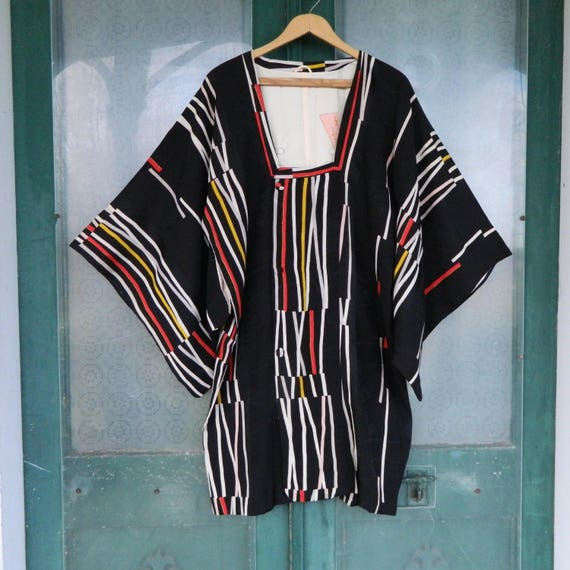 Vintage Japanese Reconstructed Short Kimono Black Silk with White Red Yellow Stripes