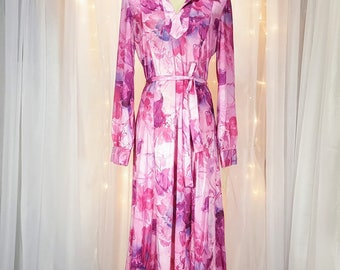 Vintage - Long Sleeve Dress - Floral in Rosy Hues - 70s/80s - Tagged - Never Worn - New Old Stock