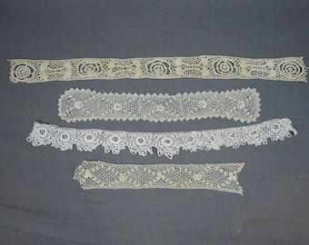 4 Pieces Antique Handmade Lace, Edwardian Victorian, Crochet Cotton Lace Trims