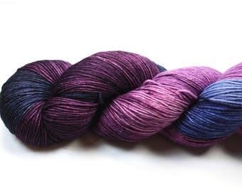 Lady VIolet--hand dyed sock yarn, BFL and nylon, (464yds/100gm)