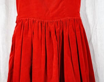Vintage Christmas Kate Greenaway Frock - Red Velvet Dress - Size 7