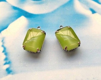 Vintage CZECH Glass Stones 18x13mm Octagon Lime Green Moonstone in Sterling Silver Ox Open Back Prong Setting 670SOX x2