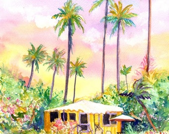 kauai cottage yellow house original watercolor paintings hawaii hawaiian kauaiartist plantation style cottages whimsical tropical art