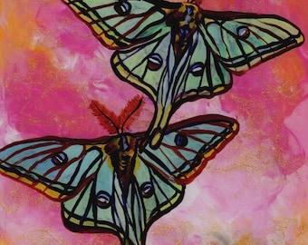 Luna Moths Painting, Original Reverse Arcylic Art, Butterfly Paintings, Green Moth, Children's Art, Whimsical Kids Wall Art
