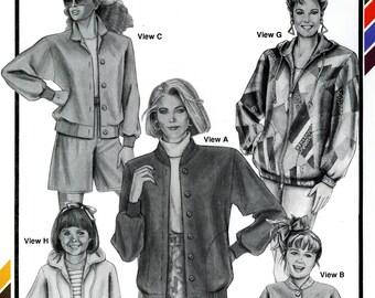 Stretch & Sew Ladies Womens Girls Baseball Jackets Hood Hoodie Zip or Button Front Cardigan Uncut Vintage Sewing Pattern 1992