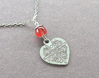 Bloodline Celtic Heart Necklace Heart With Cross & Red Glass Bead Engraved Both Sides