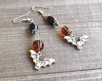 Silver Bat Earrings Black & Amber Colored Beads Vampire Bat Jewelry Halloween Bats Spooky Bat Gothic Costume Attire Vampire Bat Motif