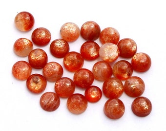 26 Pcs 6mm Natural Sunstone Round Cabochon / Gold Sparkling Flashy Fire Sun Stone Cabochon / Semiprecious Loose Gemstone SSN01