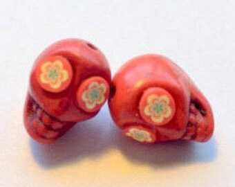 Day of The Dead Sugar Skull Beads-12mm Red Howlite Skulls with Fun Flower Eyes
