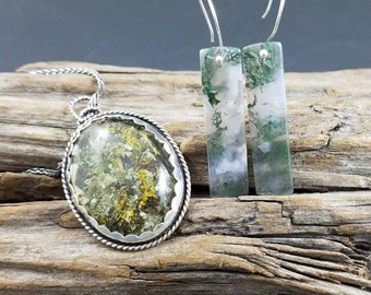 Argentium silver and moss agate earrings