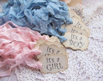 Baby Shower Favor Tags It's a Girl or Boy - Qty 18 - Ready to Ship - Gift sprinkle vintage rustic