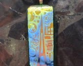 Fused Glass Pendant with Ribbon necklace: Paris