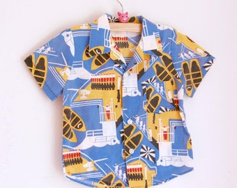 Vintage boys summer shirt with submarines 2t