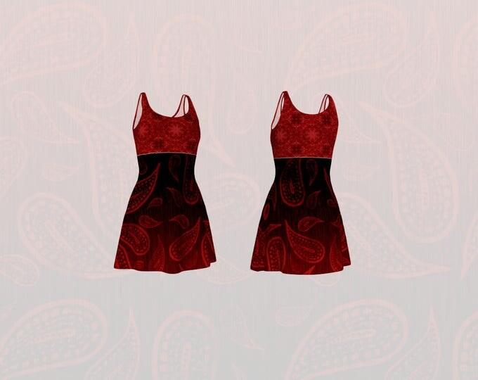 Red Paisley and Mandala Printed Flare Dress