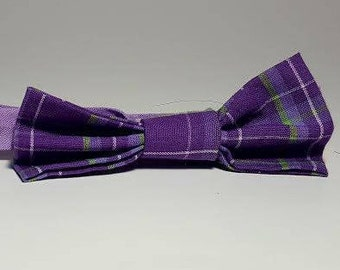 Purple and Green Plaid Boys' Bow Tie