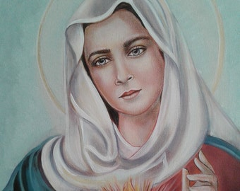"Blessed Virgin Mary, Immaculate Heart, 16"" X  20"" OOAK, Oringinal Arcylic Painting, Mother of Our Savior Catholic Art, signed"