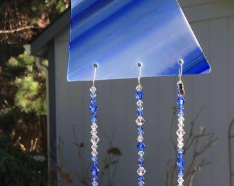 Blue Stained Glass and Swarovski Crystal Sun Catcher, Glass Art, Window Suncatcher, Glass Ornament, Home Decoration, Blue Crystals, 8882