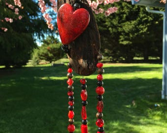 Driftwood Mobile, Red Heart, Home Decor, Heart Decoration, Garden Decor, Window Ornament, Small Mobile, Yard Art, Garden Decoration8865