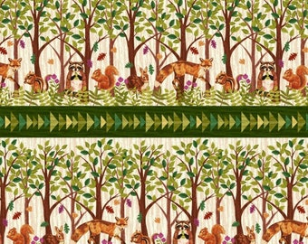 Enchanted Forest Border Stripe Cream Studio E Fabric