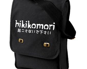 Hikikomori Bag canvas messenger bag anime laptop bag japanese kanji japan geek graduation gift travel bag