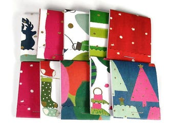 Set of 20 Matchbook Notepads Stocking Stuffer Favors Mini Note Pads in Funky Holiday