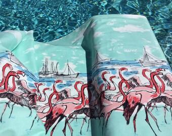 Flamingo Border Seafoam Color   ~ Michael Miller Fabrics~ Very Lightweight Quilting Cotton