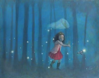 "Firefly Serenity 8x10 Art Print, Firefly Inspired Print, River Tam Painting,  ""Catching Fireflies"""