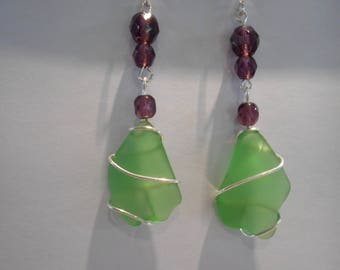 light green beach glass ( like oak leaves ) dangle earrings with amethyst faceted glass beads