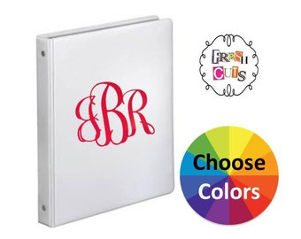 6 Inch Vinyl Decal Back To School 3 Ring Binder Notebook Decal Classic Vine Fancy 3 Letter Monogram Personalize Your Stuff 25 Colors