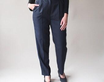 high waist pinstripe trousers   navy pinstripe pants, small - medium