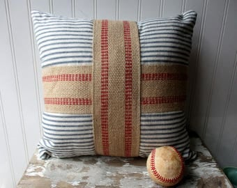 Ticking cross pillow vintage narrow stripe navy blue white ticking stripe pillow with burlap jute grainsack red cross Farmhouse Cottage Chic