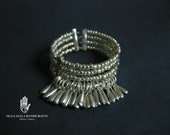 RESERVED FOR L TORRES - Silver Metal Fringe Cuff Bracelet