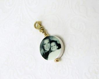 Round mini bracelet photo charm or necklace pendant- 14K Gold Edition