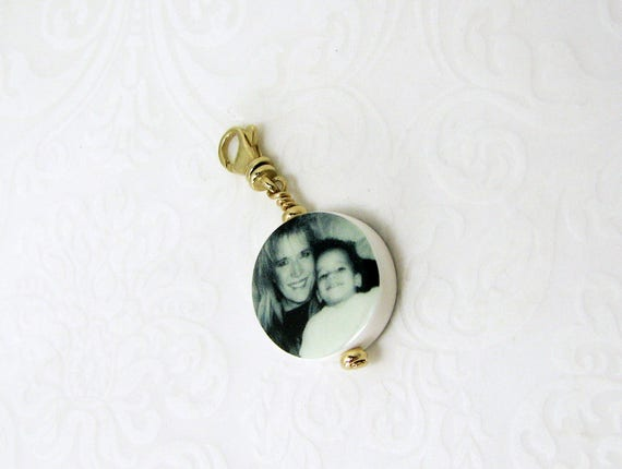 Round mini bracelet photo charm or necklace pendant- 14K Gold Edition