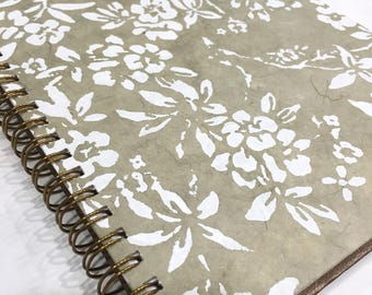 Ruled Journal - White Flowers on Beige