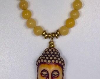 Buddha necklace, Buddha head, Yellow Jade Necklace, Buddha yellow, Buddha Jade, Yellow beads, Buddha with Beads