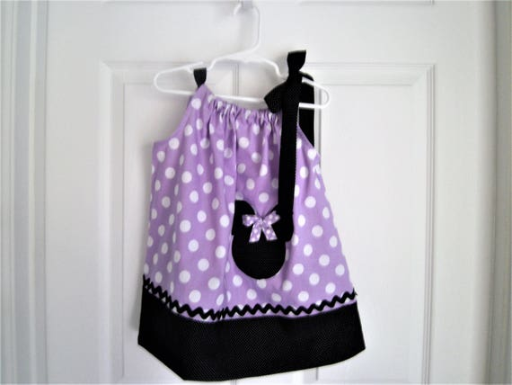 Minnie Mouse Dress, Purple Polka Dot Minnie Mouse,Handmade Dress, Birthday Dress, Pillowcase style Dress,Girls Dress, Baby Dress