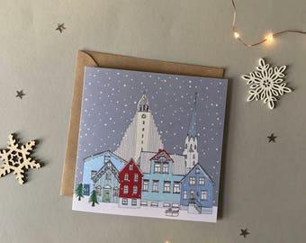Reykjavik Christmas Card - Reykjavik Skyline - Scandinavian Christmas Card - Reykjavik Scene - Snowy Scene Christmas Card