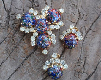 D & E Harlequin Millifiore Jewelry Set Brooch Earrings DeLizza Elster