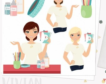 Crafty girl character clipart, greeting card woman, paper art and craft, invitation cli art, blonde, brunette and auburn hair (Vivian L277)