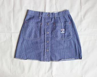 Size 7   Railroad Stripe Button Up Skirt / Vintage Esprit Miniskirt / Esprit Denim Lightweight 100% Cotton Skirt / 28 Inch Waist / 90s