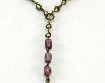 Infant of Prague Chaplet Rosary 15 Purple Glass Beads France Vintage Catholic 21027