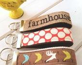 Farmhouse Keychain, Chicken KeyRing, Farm house Key Chain, Polka Dot Key Holder, Chicken wristlet key fob, Burlap Key Gifts for Teachers