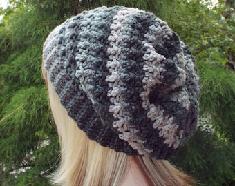 Shades of Gray Crochet Hat, Womens Slouchy Beanie, Oversized Slouch Beanie, Chunky Hat, Slouchy Hat, Winter Hat, Multicolor Slouch Hat