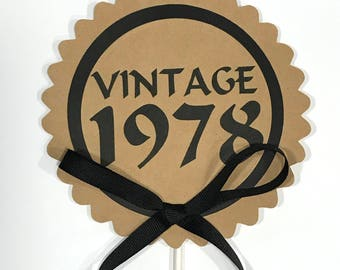 40th Birthday - Vintage 1978 Cake Topper Decoration, Candy Pick, Black and Kraft Brown or Your Choice of Colors