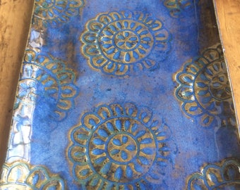 Blue Rectangular Serving Plate-Mandala Pattern