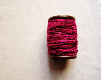 Deep Peony Pink rayon Chenille Ribbon on a Hand painted espresso wooden spool