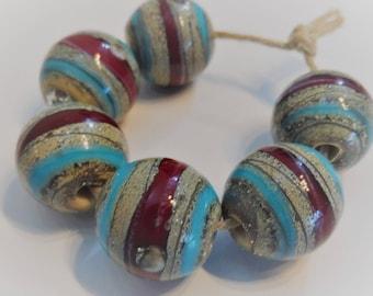 Lampwork Beads, Handmade Glass Beads,Turquoise Red Organic Round